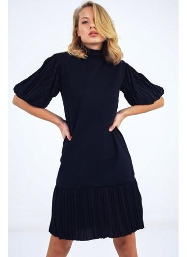 Emjey Kolları Balon Eteği Piliseli Hakim Yaka Özel Tasarım Elbise Siyah